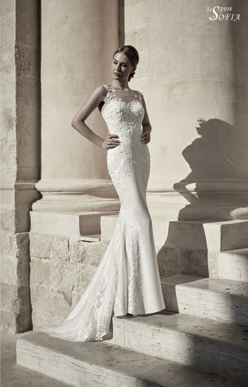 e0789fac1f4a Splendido abito da sposa bianco con applicazioni in pizzo articolo 3S26S81  Le Spose di Sofia ...