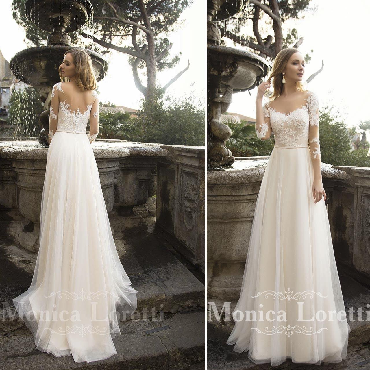 Abito da sposa semplice dalle linee classiche colore bianco articolo Mireia Monica  Loretti ... e3ac940cd0b