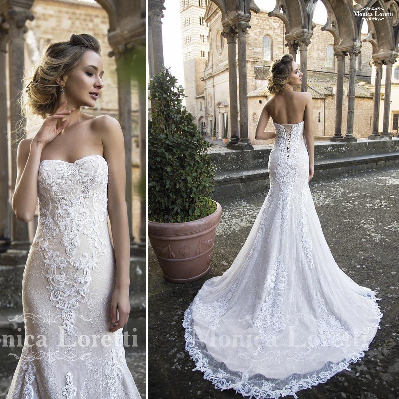 ... bianco articolo Naila Monica Loretti Abito da sposa lungo in pizzo  molto lavorato articolo Narela Monica Loretti ... dd8aa8ff97c