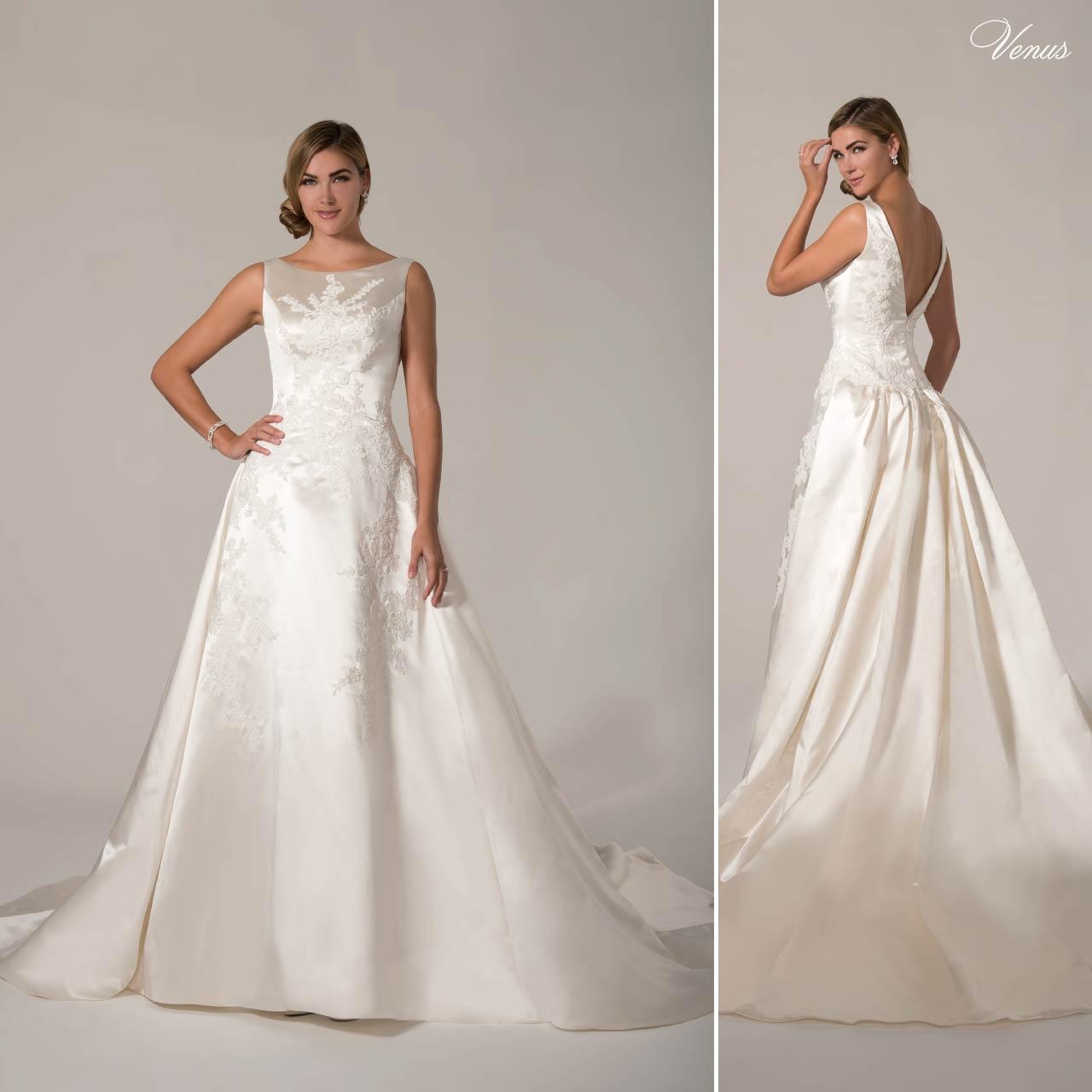 Abito sposa in seta bianco articolo AT4685N Venus Bridal Italia Abito da ... 2c3227936a1